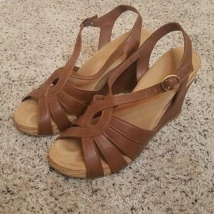 Bamboo Comfy Soles Strappy Wedge Heels Brown